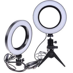 Image 3 - Photography LED Selfie Ring Light 16CM Dimmable Camera Phone Ring Lamp 6inch With Table Tripods For Makeup Video Live Studio