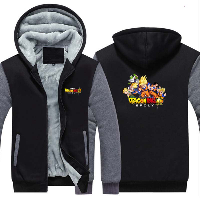 New Dragon Ball Super Broly Thicken Hoodie Sweatshirts Cosplay Costume Anime DBZ  Winter Warm Coat Hooded Men Adult Clothing
