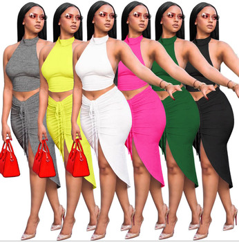 JRRY Sexy Women Set Two Pieces Set Turtleneck Backless Crop Top Drawstrings Mid Calf Slit Skirt 2 Pieces Set Skinny Outfit 1