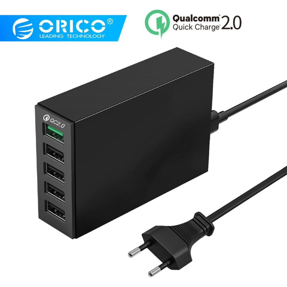 ORICO 5 Ports USB Charger QC 2.0 5V8A 40W Max Desktop Quick Charger για iPhone Samsung S6 Xiaomi Huawei EU Plug Charger
