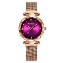 PESIRM Luxury Rose Gold Women Watches Fashion Diamond Ladies Starry Sky Magnet Watch Waterproof