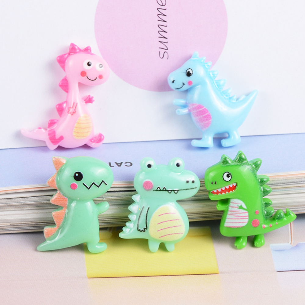 5 Pcs Resin Cute Cartoon Dinosaur Slime Clay Charm Filling Accessories Kids Toy Hair Accessories Handmade DIY Accessories