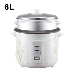 6L Electric Rice Cooker Household Rice Porridge Soup Cooking Machine With Steaming Layer Black Crystal Inner Tank 8-10 Person