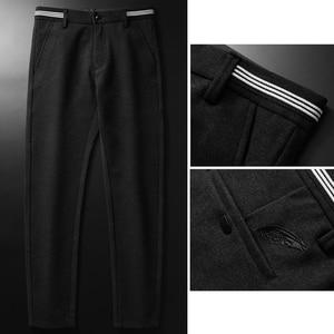 Image 3 - 2019ฤดูใบไม้ร่วงและฤดูหนาวใหม่ผู้ชายหนากางเกงธุรกิจแฟชั่นขั้นสูงยืดถักกางเกงชายแบรนด์เสื้อผ้า