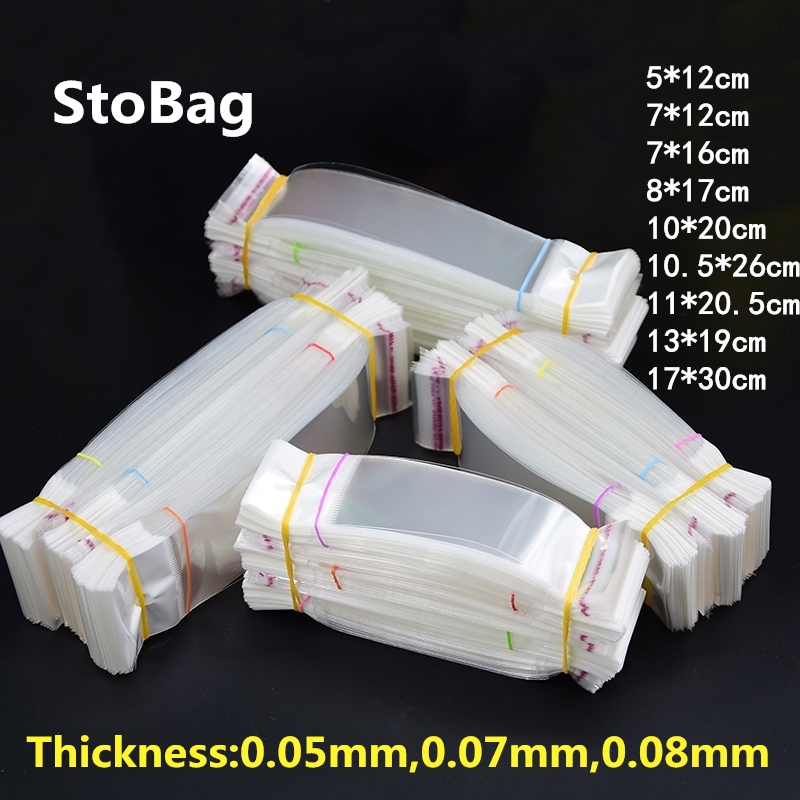 StoBag 100pcs Transparent Self Adhesive With Hang Hole Plastic Bags OPP Gift Jewelry Package Bag Retail Accessories Pen Card