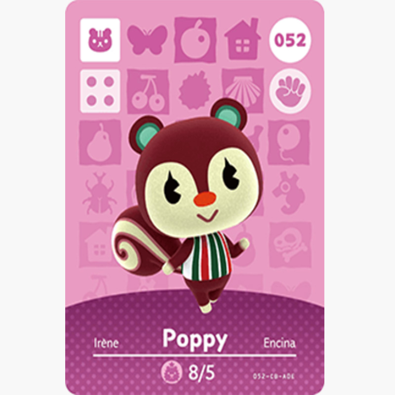 052 Poppy Animal Crossing Card Animal Crossing Figures SwitchNS 3DS Amiibo Cards Villager New Horizons Amiibo Card Gift
