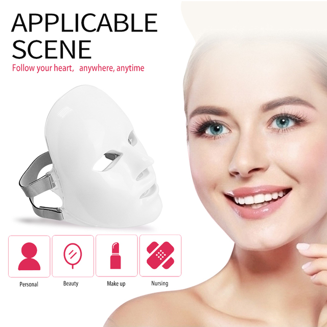 Led Mask 7Colors Led Facial Mask Photon Therapy Face Mask Light Therapy Skin Rejuvenation Therapy Wrinkle Acne Tighten Skin Tool 1