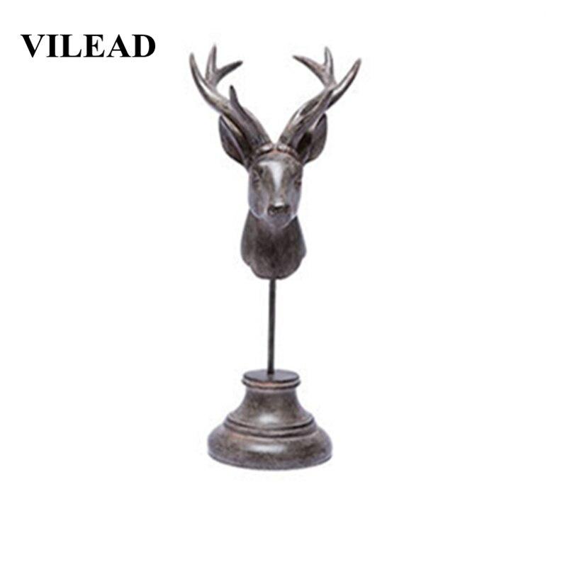VILEAD 32cm resina ciervo cabeza joyería estante figurillas creativo Vintage Animal ornamento Accesorios de escritorio almacenamiento decoración Hogar