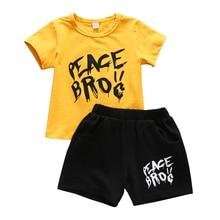 1-6T Boys Summer Clothes Gold T-shirt Top Black Short Pants PEACE BROC Children Boy Tiny Cottons Toddler Outfits