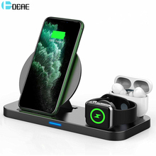DCAE Fast Charging Dock Station 10W 3 in 1 Qi Wireless Charger Stand for iPhone 11 XS X 8 AirPods Pro Apple Watch iWatch 5/4/3/2