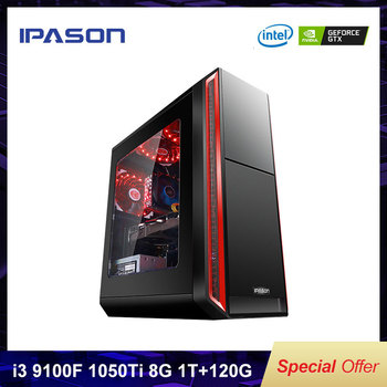 IPASON A5 Gaming PC Intel Quad-Core I3 9100F DDR4 4G 8G RAM 120G+1T SSD/Gaming Card 1050TI Desktop Computer For PUBG Cheap PC