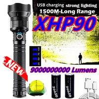 Linterna Led XHP90 de alta brillo, luz Flash impermeable, batería recargable por USB, uso de linterna, linterna de caza con batería 18650