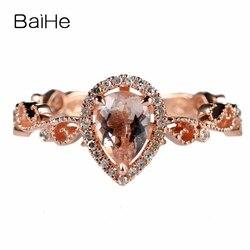 BAIHE 0.5ct 5X7mm Pear Genuine Morganite Solid 10k Rose Gold Natural Diamonds Women Engagement Wedding Ring Millgrain Style Ring