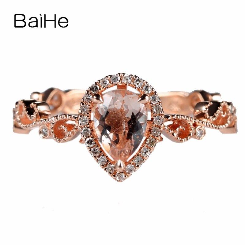 BAIHE 0.5ct 5X7mm Poire Véritable Morganite Massif 10k Or Rose Diamants Naturels Femmes Bague De Fiançailles Millgrain Style Anneau