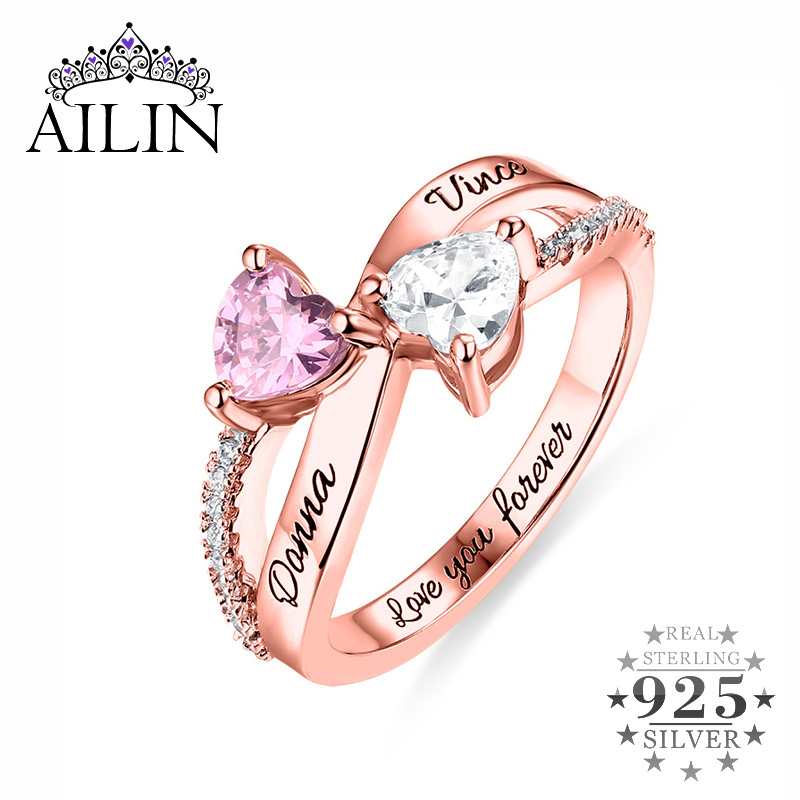AILIN Jewelry 925 Sterling Silver Jewelry Engraved I Love You to The Moon and Back Double Heart Love Heart Pendant Necklace