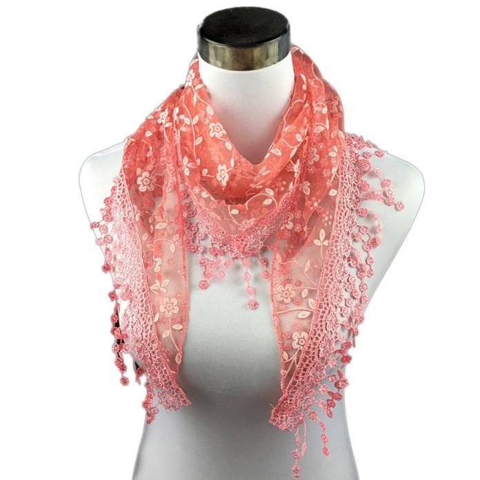 Sleeper #P501 2019 NEW FASHION Lace Tassel Sheer Burntout Floral Print Mantilla Scarf Shawl Wrap Schal Winter Cachecol Charm
