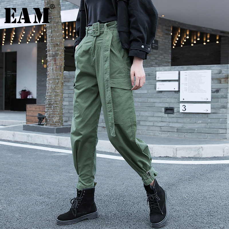 [EAM] High Waist Big Pocket Long Army Green Harem Trousers New Loose Fit Pants Women Fashion Tide Spring Autumn 2020 1M951