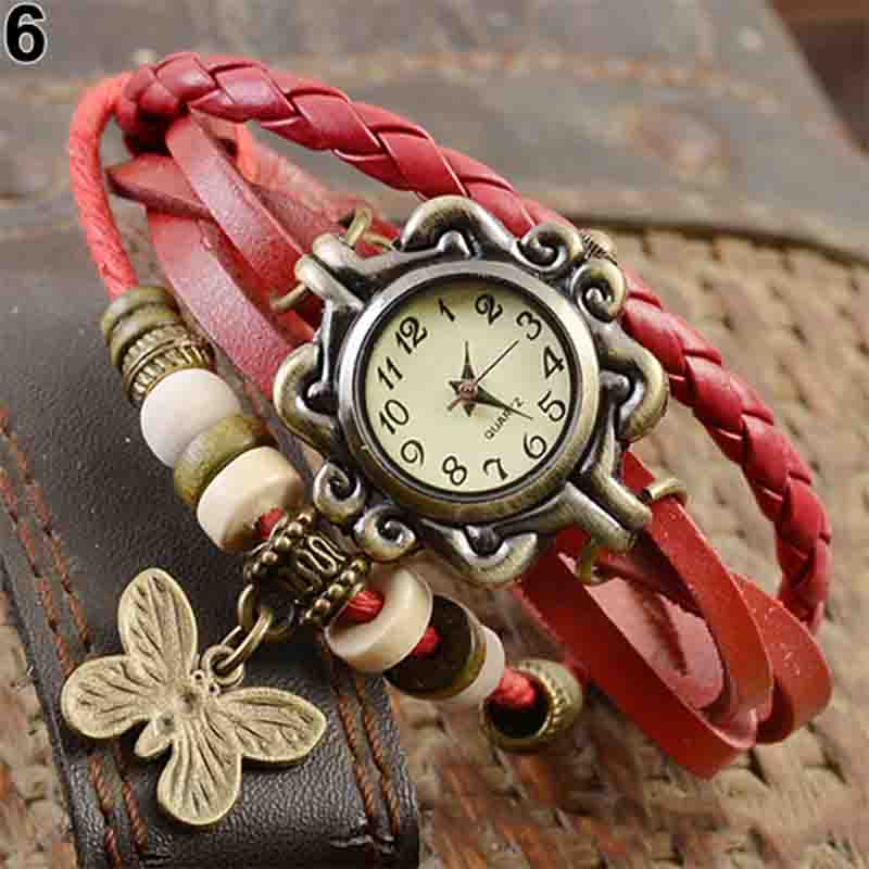 Women Casual Vintage Multilayer Butterfly Faux Leather Bracelet Ladies Watch Women Dropshipping Handmade Braided Dreamcatcher