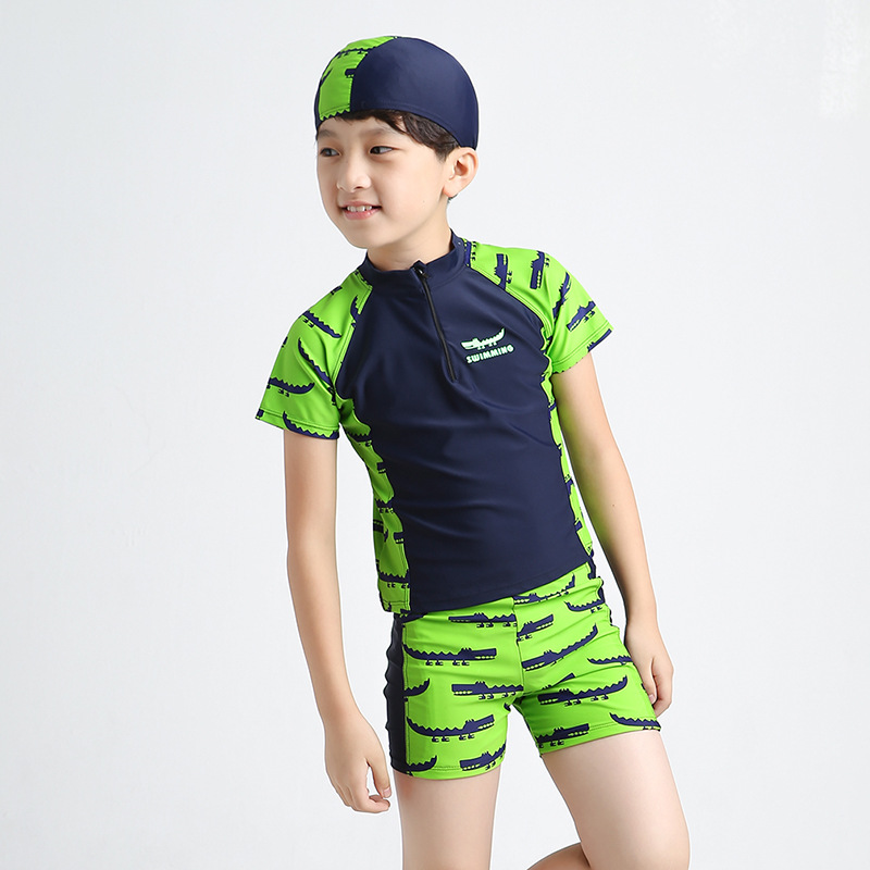 BOY'S Big Kid In Big Kid KID'S Swimwear Tops Pants Hat Sun-resistant Split Type Boxers Crocodile Bathing Suit