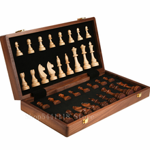Walnut Chess Set High Quality Wooden Folding Large Chess Set Handwork Solid Wood Pieces Walnut Chess board