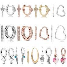 925 ayar gümüş asimetrik AlluEarring kalp manevi tüyler küçük kalpler PAN küpe kadınlar için hediye moda takı