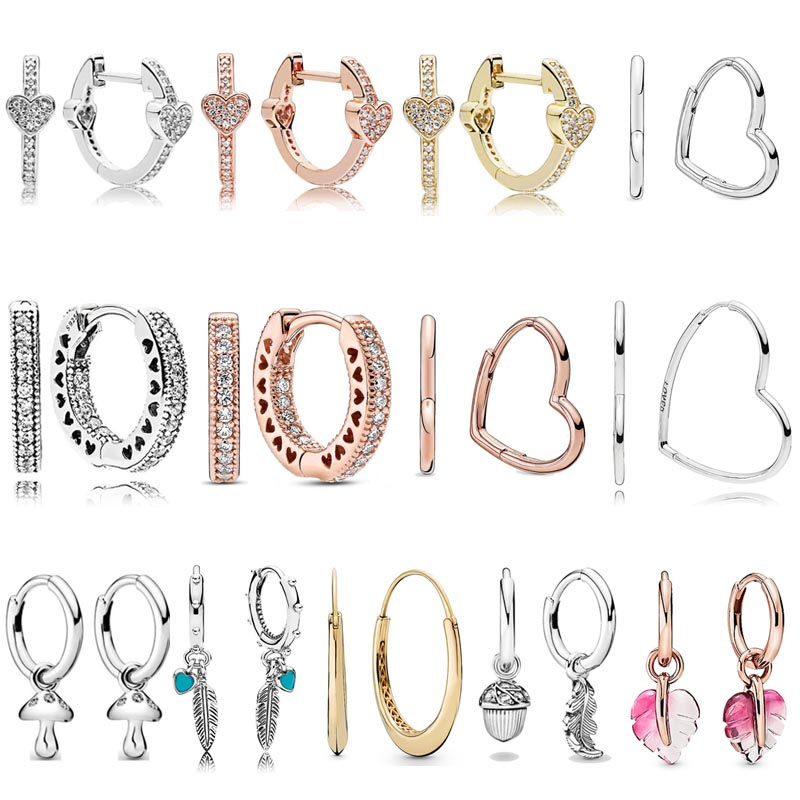 Plata esterlina 925 asimétrica AlluEarring corazón espiritual plumas pequeños corazones de pendiente de sartén para el regalo de las mujeres joyería de moda