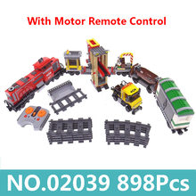 King Bricks Lepinblocks 02039 Red Cargo Train Motor Power Remote Control Building Blocks City Train Technic Children Toys Gift(China)