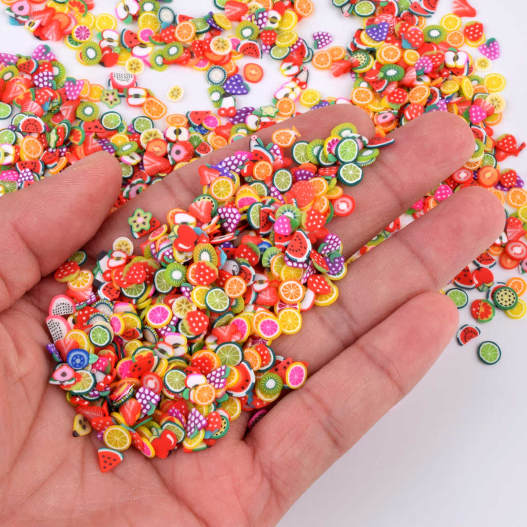 1000pcs/Bag Fruit Fimo Slices Addition Charms For Fluffy Slime DIY Supplies Polymer Clear Clay Sprinkles Putty Nail Craft Toys