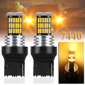 цена на 2Pcs T20 W21 Led Amber Canbus Error Free Brake Lamp Tail Light 45SMD 12V T20 W21W WY21W 7440 Turn Signal Lights