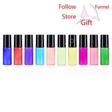 10 pçs/lote 5 ml doces colorido garrafas de óleo de vidro com bola de rolo vazio perfume óleo essencial rolo na garrafa