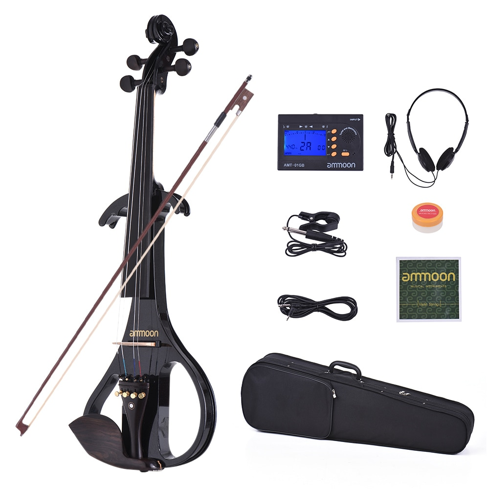 ammoon VE-209 Full Size 4/4 Silent Electric Violin Solid Wood Maple with Bow Hard Case Tuner Headphone Rosin Audio Cable Strings