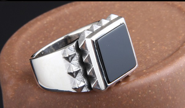 Men's Ring 925 Silver Personality Ring Tide Index Finger Wide Exaggerated Black Onyx Japan and South Korea Silver
