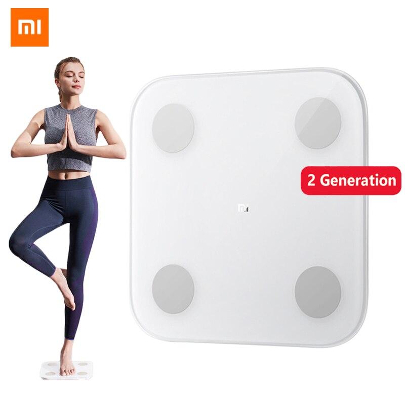 2019 nouvelle échelle de graisse corporelle intelligente Xiaomi 2 Mifit APP Bluetooth 5.0 Test d'équilibre 13 Date corporelle imc santé Balance de poids affichage de LED