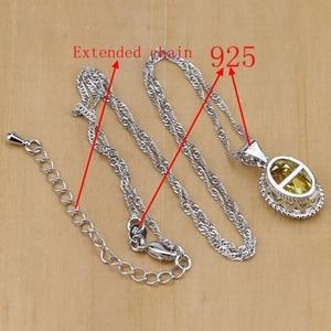 Image 5 - 925 Silver Jewelry Yellow Cubic Zirconia Jewelry Sets for Women Earrings/Pendant/Necklace/Rings/Bracelet