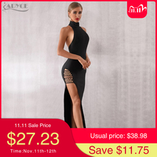 Adyce 2020 New Summer Black Bandage Dress Sexy Sleeveless Halter Hollow Out Maxi Club Dress Celebrity Runway Party Dress Vestido