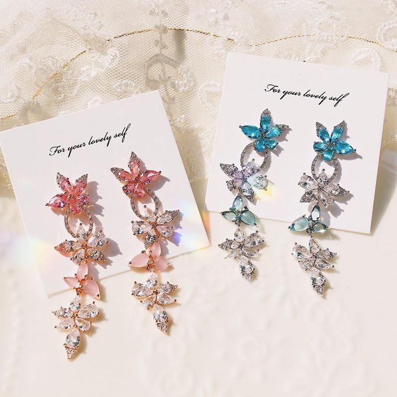 MENGJIQIAO Korean Pink Flower Crystal Leaf Dangle Earrings For Women Girls Elegant Statement Fashion Temperament Party Jewelry