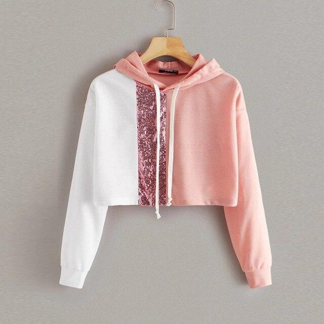 Crop Hoodies Women Sweatshirt Sequin Splice Color Block Autumn Loose Long Sleeve Pullovers Streetwear Tops Sudadera Mujer