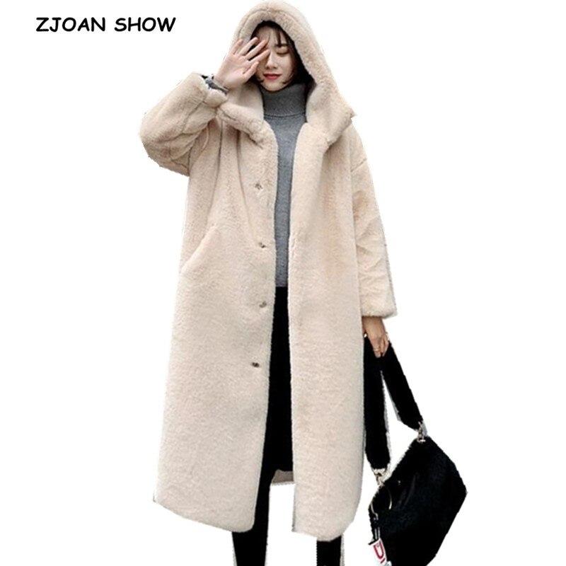 2019 Oversize Winter Warm Hooded Large Size Long Solid Color Faux Fur Coat  New Casual Long Sleeve Women Fur Jacket Outwear