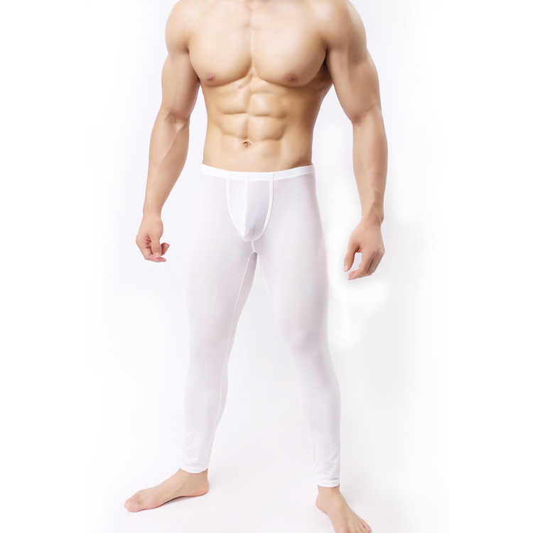 Nova chegada sexy ultra-fino de seda longo johns calças térmicas legal leggings roupa interior s m l xl
