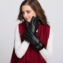 New Winter Genuine Leather Gloves Women Wool Fleece Warm Full Finger Gloves Elegant Ladies Windproof Outdoor Driving Gloves(China)