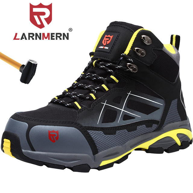 LARNMERN Mens Steel Toe Safety Shoes Lightweight Breathable Anti smashing Anti puncture Anti static Protective Work Boots