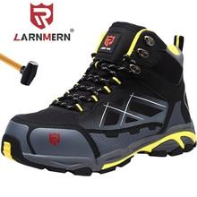 LARNMERN zapatos de seguridad con punta de acero para hombre, botas de trabajo protectoras antiestáticas, ligeras, transpirables, antirroturas