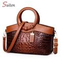 Europäischen und Amerikanischen Stil Krokodil Muster Frauen Leder Retro Handtaschen Damen Große-kapazität Partei Schulter Taschen Sac EIN Haupt