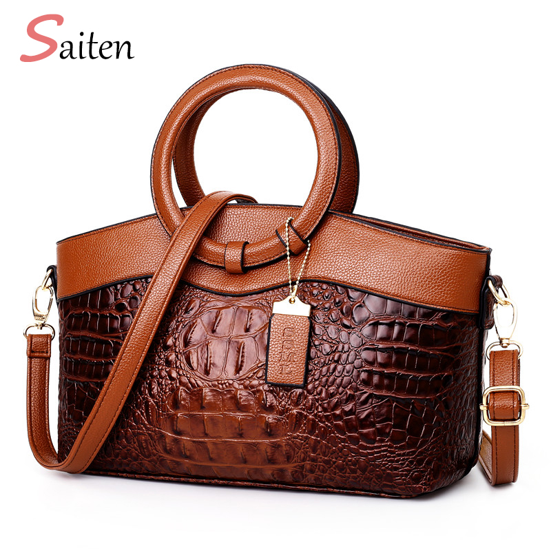 European And American Style Crocodile Pattern Women Leather Retro  Handbags Ladies Large-capacity Party Shoulder Bags Sac A Main