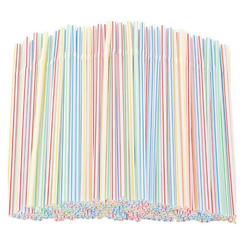 1500 Pcs Flexible Plastic Straws Striped Multi Colored Disposable Straw 8 inch Long