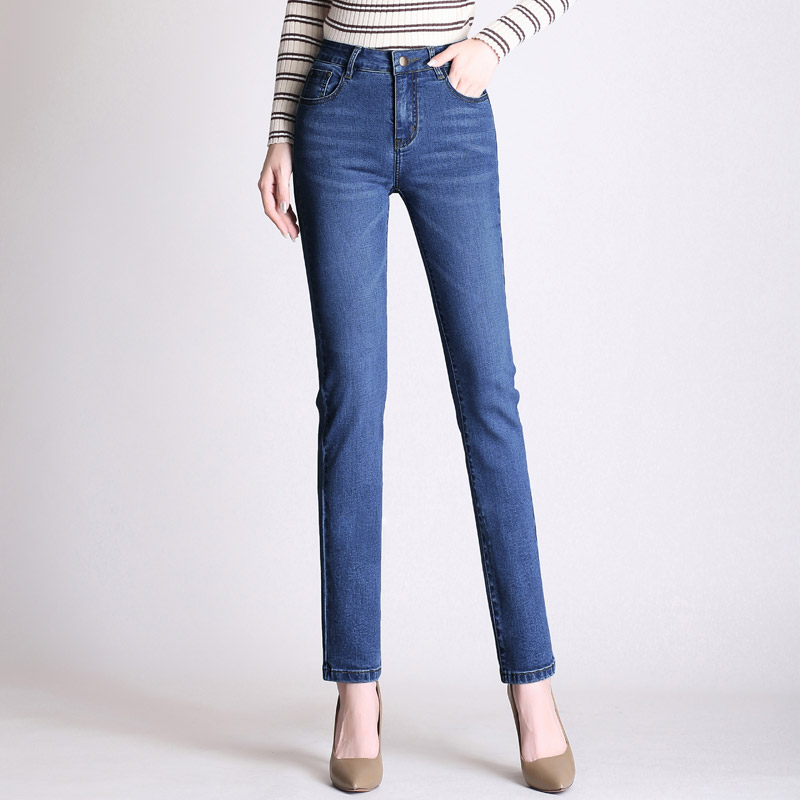 2020 new straight stretch jeans high waist Women trousers plus size version Casual Slim woman jeans mom was thin Length pants