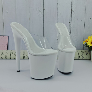 Leecabe  Shinny White style high heel sandals 20cm sexy model shoes pole dance shoes stylish shining rhinestones 15cm sexy platforms high heel shoes pole dance sandals 6 inch performance sexy crystal wedding shoes