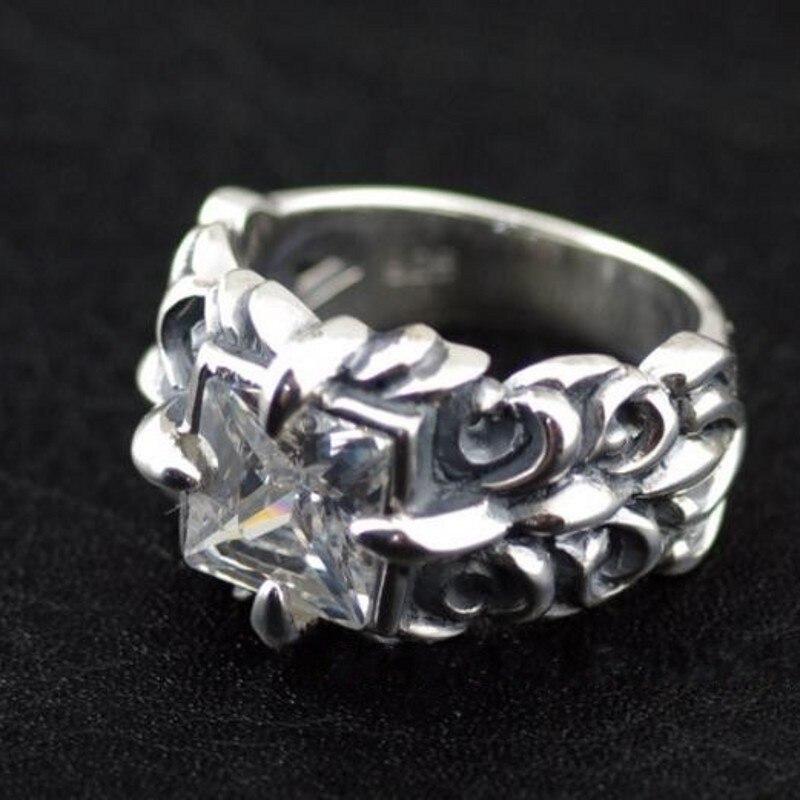 925 prata esterlina rosto quadrado âncora padrão modelos masculinos thai anel de prata anel de prata do homem - 5