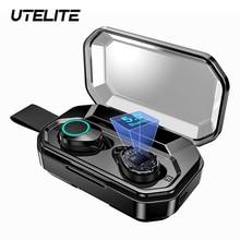 UTELITE X6 Pro TWS słuchawki z 4000mAh etui z funkcją ładowania bezprzewodowe słuchawki Bluetooth słuchawki sportowe 8D douszne słuchawki Stereo