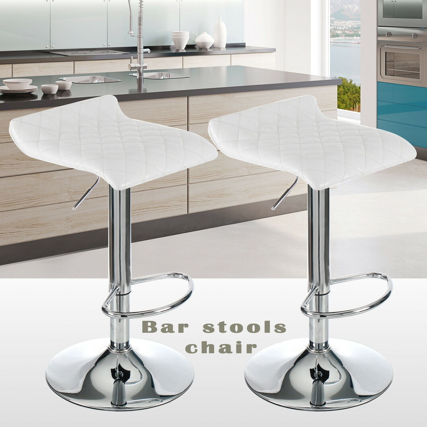 Set Of 2 Bar Stools Counter Pub Chairs Adjustable Swivel Hydraulic With Footring